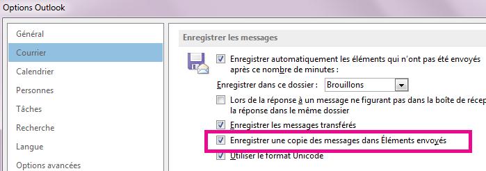 La case «Enregistrer une copie des messages dans le dossier Éléments envoyés» est cochée.