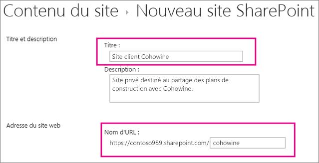 Dans la zone Titre, donnez un nom au sous-site; dans la zone URL, entrez le nom du client pour l'ajouter à l'URL du site.
