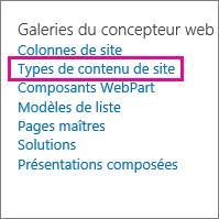 Lien des types de contenu de site sur la page Paramètres du site