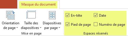 Désactivez une case à cocher (par exemple, En-tête) pour supprimer la fonctionnalité de vos documents.
