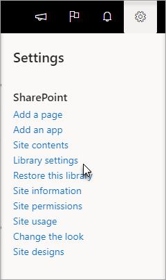 Menu paramètres avec les paramètres de la bibliothèque sélectionnée