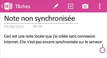 An unsynced note in OneNote for Android