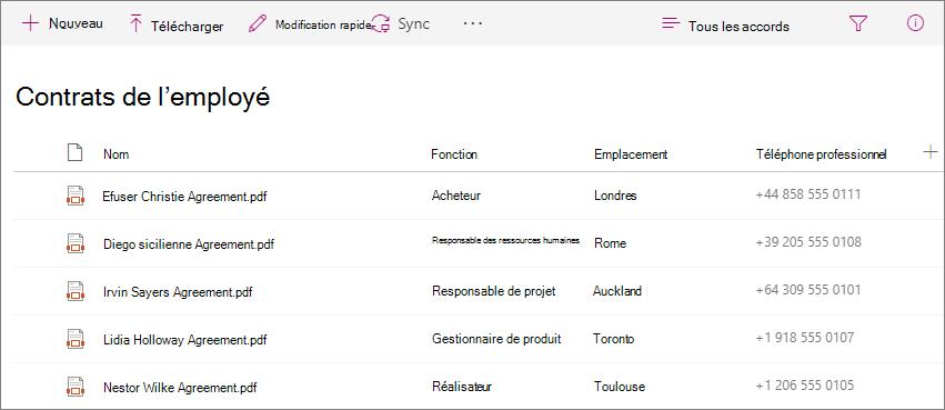 Capture d'écran de la bibliothèque d'accords employé