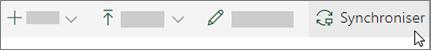 Barre d'outils de SharePoint Online avec l'option de synchronisation sélectionnée