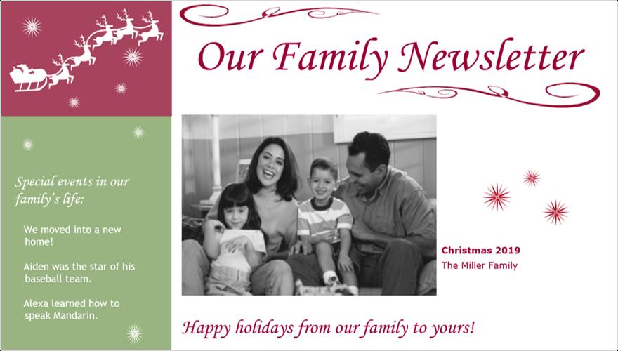 Image d'un bulletin d'informations sur votre famille de fêtes avec photo