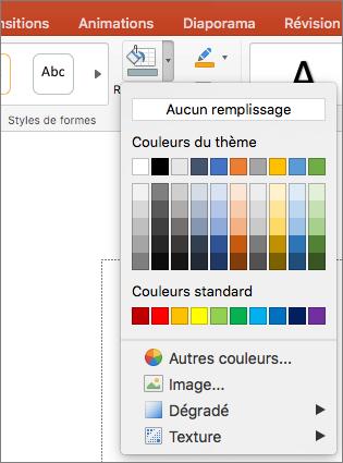 Capture d'écran montre les options disponibles dans le menu remplissage de forme, ainsi qu'aucun remplissage, couleurs du thème, couleurs Standard, autres couleurs de remplissage, image, dégradé, Texture.