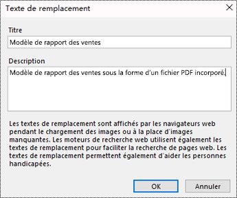 Ajouter un texte de remplacement à une boîte de dialogue Impression de fichier