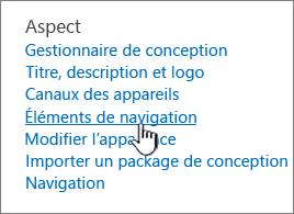 Éléments de navigation dans le menu Paramètres du Site