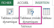 Tableaux croisés dynamiques recommandés sous l'onglet Insertion dans Excel