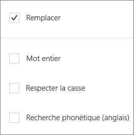 Affiche les options de recherche pour Word Mobile: remplacer, mot, respecter la casse, recherche phonétique.