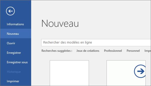 Écran Fichier > Nouveau de Word2016