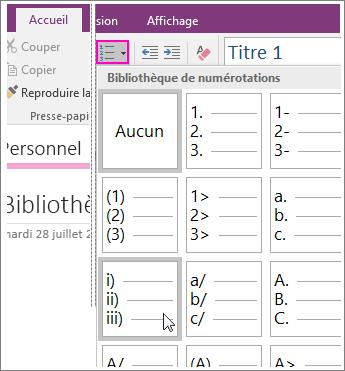 Capture d'écran de l'ajout d'une numérotation à une page dans OneNote2016.