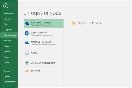 Options d'enregistrement dans Office 2016