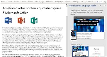 Document sur la gauche et volet Transformer en page Web sur la droite