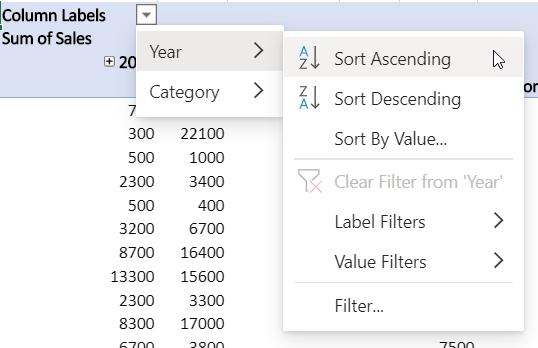 Zone de lignes avec des filtres combinés