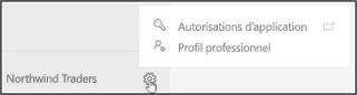 Capture d'écran: L'icône d'engrenages (Paramètres) vous permet d'accéder à la page de profil d'entreprise pour mettre à jour votre profil d'entreprise