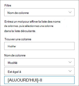 Filtre pour une bibliothèque de documents à l'aide de nom de colonne