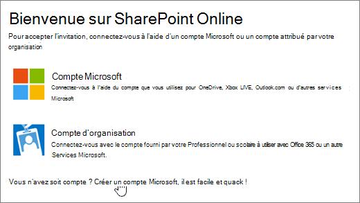 Capture d'écran montrant l'écran de connexion à SharePoint Online, avec le lien permettant de créer un compte Microsoft sélectionné.