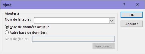 Capture d'écran de la boîte de dialogue de requête Ajout