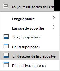 Paramètres de sous-titres dans PowerPoint online.