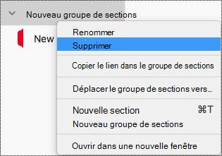 Supprimer un groupe de sections dans OneNote pour Mac