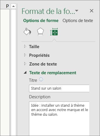 Capture d'écran de la zone Texte de remplacement du volet Format de la forme décrivant la forme sélectionnée