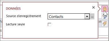 Boîte de dialogue Données dans une vue de feuille de données Web