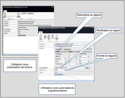 Comparaison d'une page de propriétés avec autorisations complètes et d'une autre avec autorisations en lecture seule