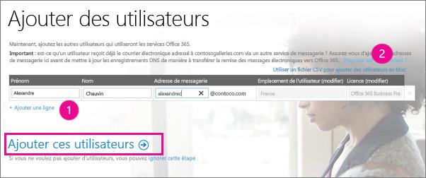 Ajouter des utilisateurs à votre client Office365