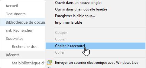 Cliquez avec le bouton droit sur la bibliothèque dans le menu de lancement rapide, sélectionnez Copier le raccourci