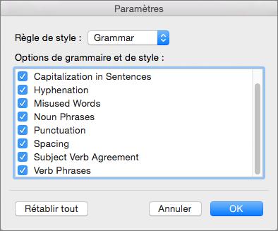 Dans les paramètres, sélectionnez les catégories d'erreurs que Word doit rechercher.