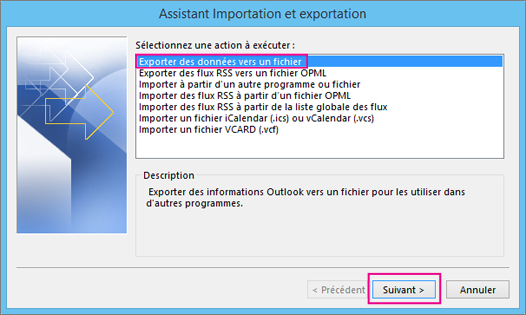 Sélectionnez Exporter vers un fichier.