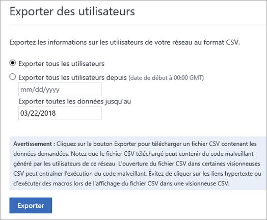 Options d'exportation des utilisateurs dans Yammer: Exporter tous les utilisateurs ou Exporter tous les utilisateurs depuis (date)