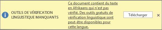 Le message Outils de vérification linguistique manquants