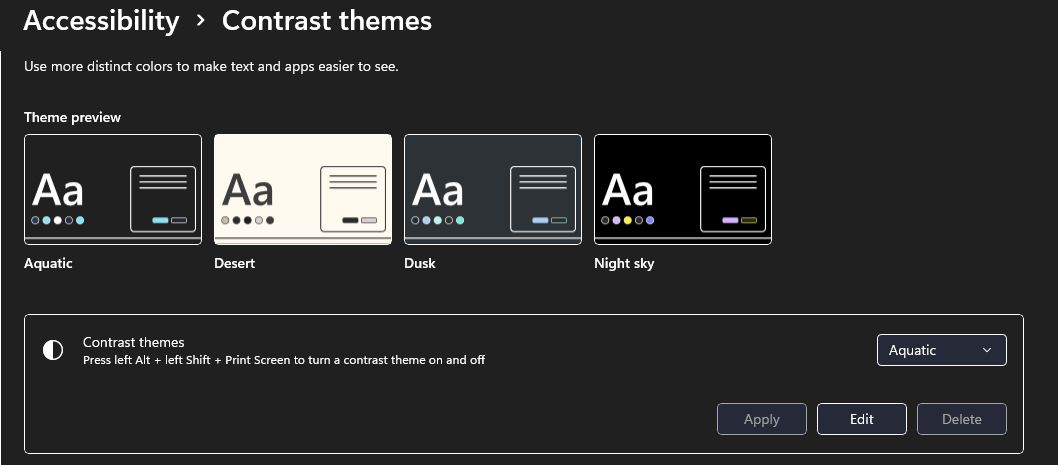 Windows 11 mode Contraste élevé