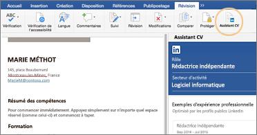 C.V. à gauche de l'écran et volet Assistant CV à droite
