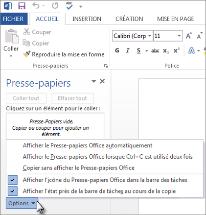 Actions possibles avec le volet Office Presse-papiers