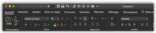 image du ruban Excel en mode sombre