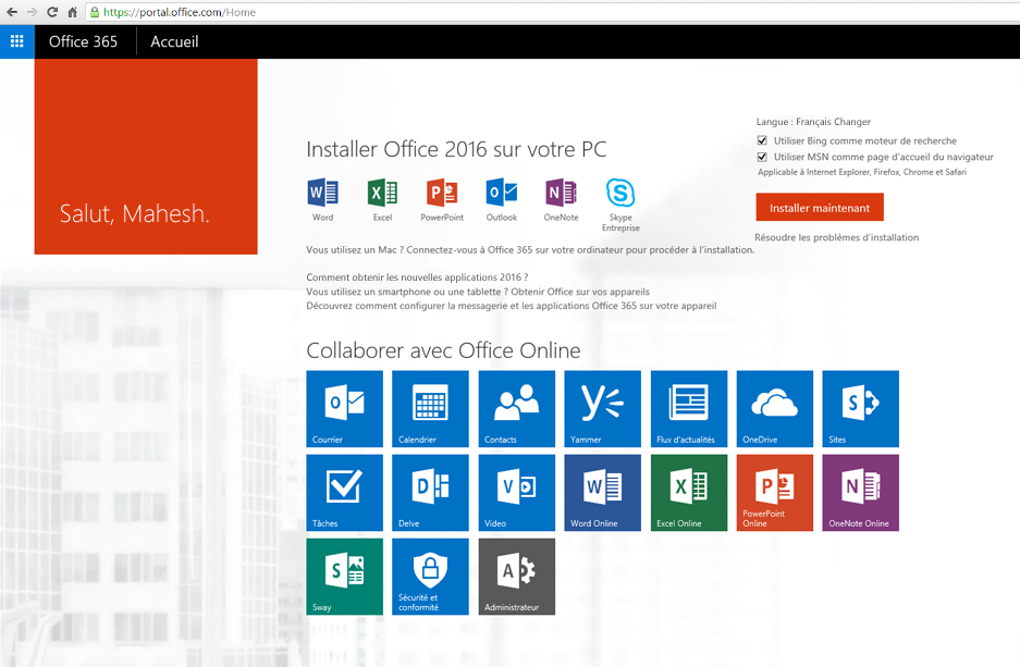 Capture d'écran de l'installation d'Office 365 sur un PC