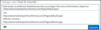 URL web collée dans un billet de flux d'actualités