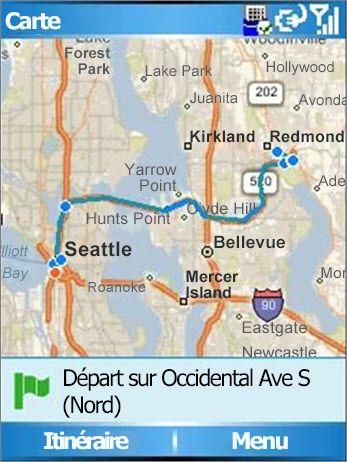 Carte montrant l'itinéraire de Seattle à Redmond