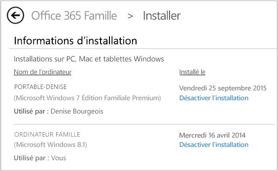 Capture d'écran de la page d'installation montrant le nom de l'ordinateur et le nom de la personne qui a installé Office.