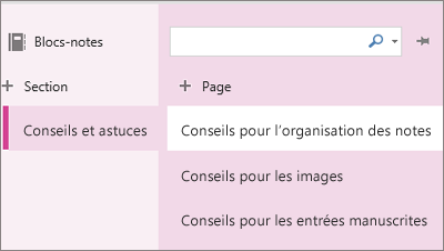Sections et pages OneNoteOnline