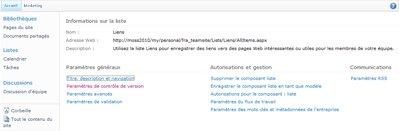 Page Paramètres de la bibliothèque dans laquelle le lien Paramètres de contrôle de version est affiché