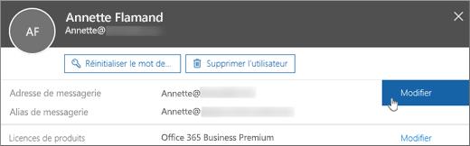 En regard de l'adresse de courrier principale, sélectionnez Modifier.
