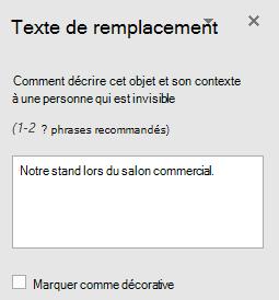 Volet texte de remplacement dans Word Win32 pour les formes