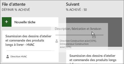 Capture d'écran du déplacement d'une tâche entre deux colonnes du tableau de tâches
