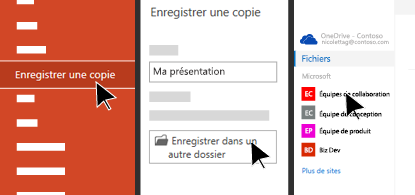 Menu Fichier montrant les options d'enregistrement dans le cloud
