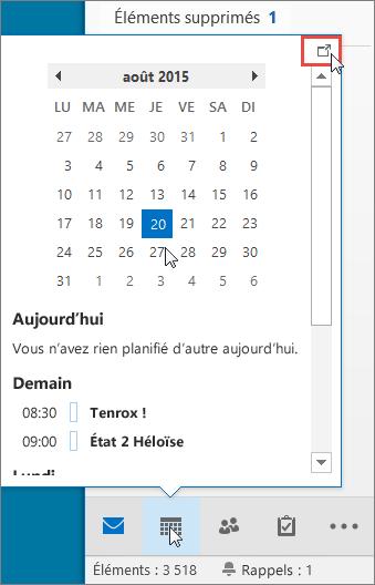 Aperçu du calendrier avec l'icône d'ancrage mise en évidence