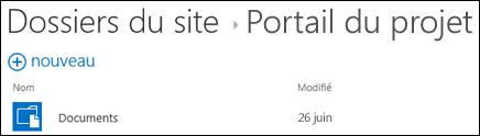 Sélectionnez un site dans la liste des dossiers du site dans Office365 pour afficher les bibliothèques de documents sur ce site.